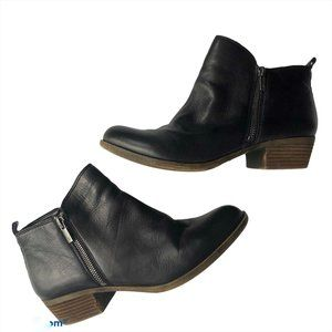 Lucky Brand Basil Booties Black Leather Ankle 10